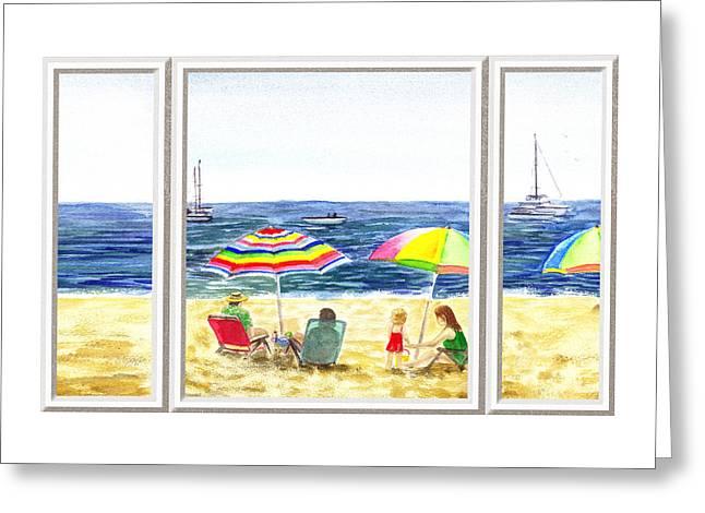 Beach Theme Decorating Greeting Cards - Beach House Window Greeting Card by Irina Sztukowski