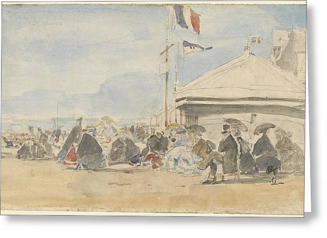 Flag Day Drawings Greeting Cards - Beach House With Flags At Trouville Greeting Card by Eugene Boudin