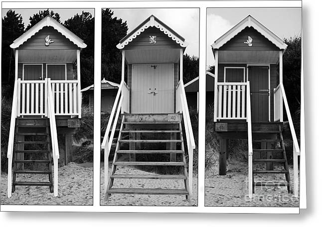 Beach hut triptych Greeting Card by John Edwards