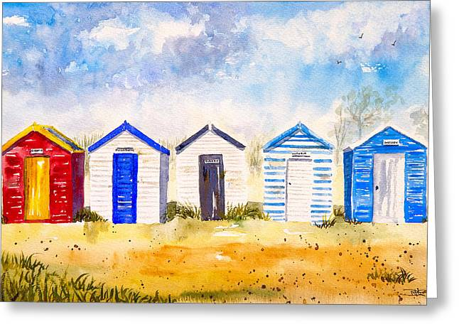 Recently Sold -  - Snow Scene Landscape Greeting Cards - Beach Huts at Southwold Greeting Card by A Portrait Of Europe