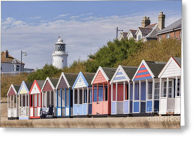 Beach Hut Greeting Cards - Beach Huts at Southwold Greeting Card by Colin and Linda McKie