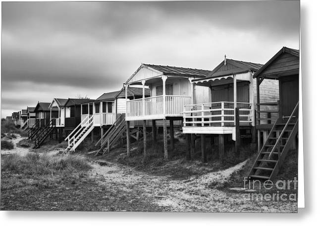 Hut Greeting Cards - Beach Huts North Norfolk UK Greeting Card by John Edwards