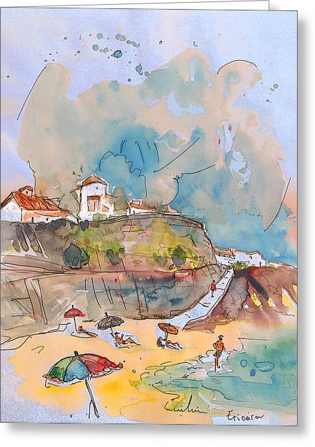 Travel Sketch Drawings Greeting Cards - Beach in Ericeira in Portugal Greeting Card by Miki De Goodaboom