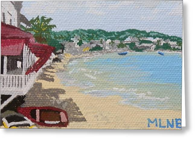St Margaret Paintings Greeting Cards - Beach in Grand Case Greeting Card by Margaret Brooks