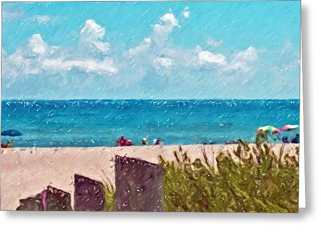 Atlantic Beaches Drawings Greeting Cards - Beach... In Pencil Greeting Card by Tammy Lee Bradley