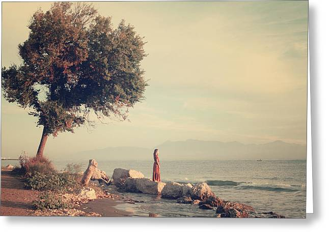 Beach In Roda - Greece Greeting Card by Cambion Art