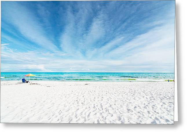 White Tapestries - Textiles Greeting Cards - Beach Greeting Card by James Hennis