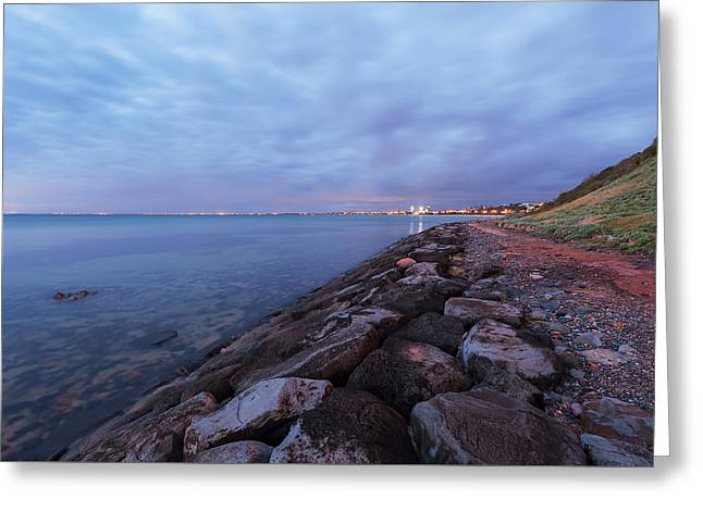 Surf City Greeting Cards - Beach Landscape at dusk Greeting Card by Greg Brave