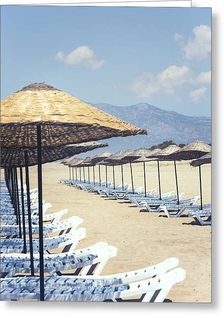 Empty Chairs Greeting Cards - Beach Loungers Greeting Card by Joana Kruse