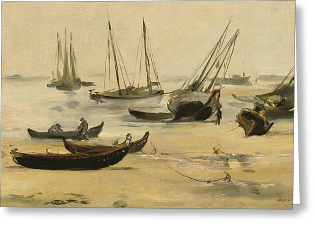Beach Low Tide Greeting Card by Edouard Manet
