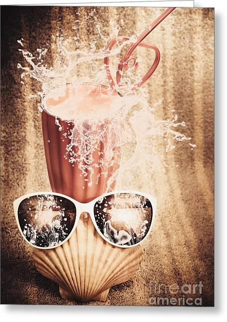 Beach Milkshake With A Strawberry Splash Greeting Card by Jorgo Photography - Wall Art Gallery