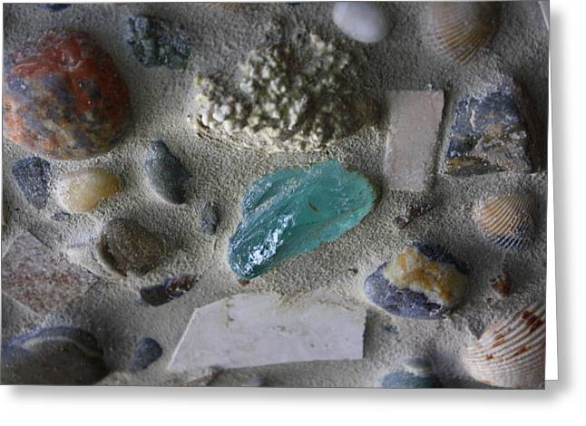 Ocean Shore Mixed Media Greeting Cards - Beach Mosaic Closeup Greeting Card by Anne Babineau