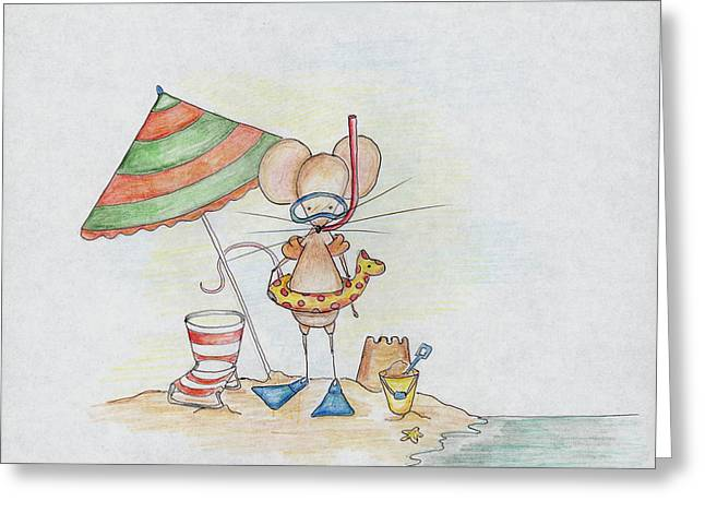Storybook Drawings Greeting Cards - Beach Mouse Greeting Card by Sarah LoCascio