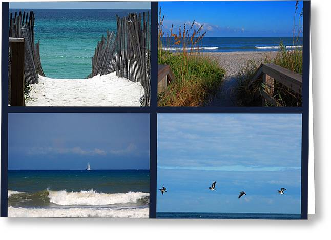 Sea With Waves Greeting Cards - Beach Multiples Greeting Card by Susanne Van Hulst