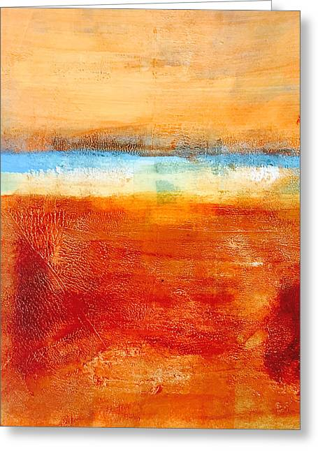 Abstract Beach Landscape Paintings Greeting Cards - Beach Greeting Card by Nancy Merkle