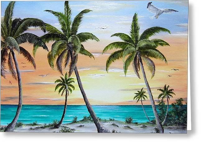 Beach Of Palms Greeting Card by Riley Geddings