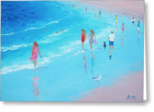 Beach Cottage Style Greeting Cards - Beach Painting - A Beach Stroll  Greeting Card by Jan Matson