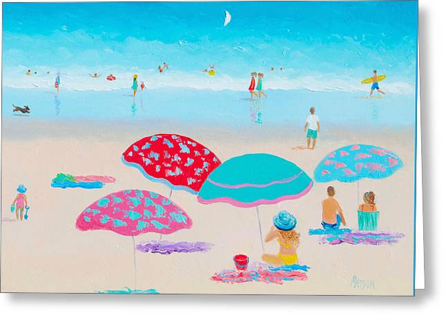 Beach Themed Art Greeting Cards - Beach Painting - A Golden Day Greeting Card by Jan Matson