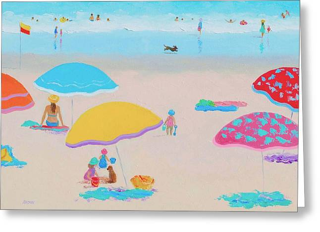 Beach Cottage Style Greeting Cards - Beach Painting - Ah Summer Days Greeting Card by Jan Matson