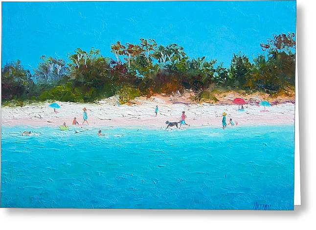 Beach Cottage Style Greeting Cards - Beach painting All summer long Greeting Card by Jan Matson
