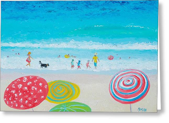 Dog Beach Print Greeting Cards - Beach Painting - Anyone for the beach Greeting Card by Jan Matson