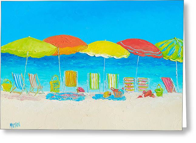 Beach Theme Greeting Cards - Beach Painting - Beach Chairs Greeting Card by Jan Matson