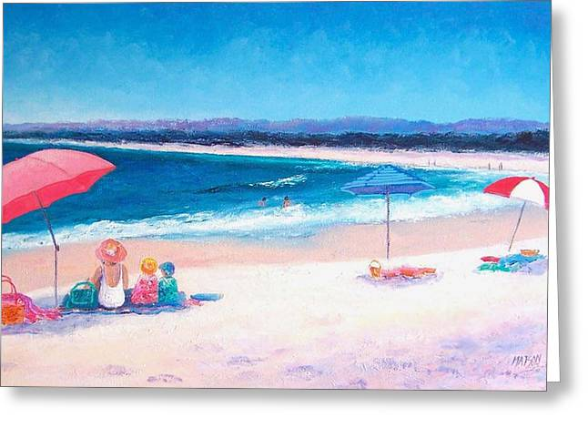 Summer Vacation Greeting Cards - Beach Painting - Beach Umbrellas Greeting Card by Jan Matson