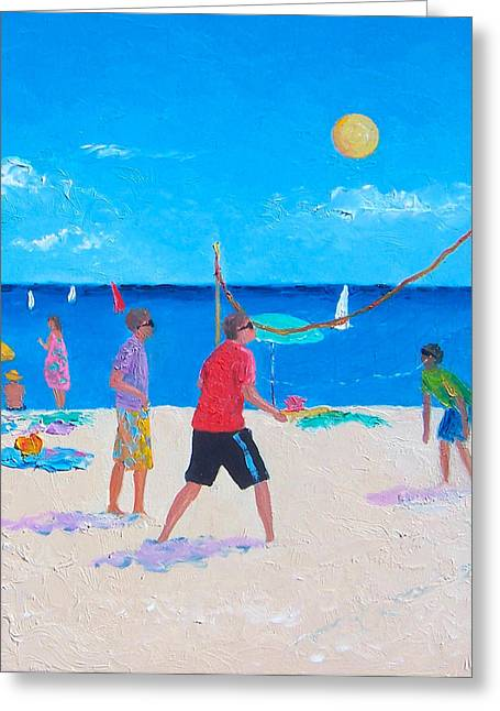 Volley Greeting Cards - Beach Painting Beach Volleyball  by Jan Matson Greeting Card by Jan Matson