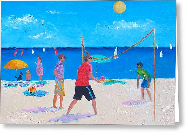 Children At Beach Greeting Cards - Beach Painting Beach Volleyball  by Jan Matson Greeting Card by Jan Matson