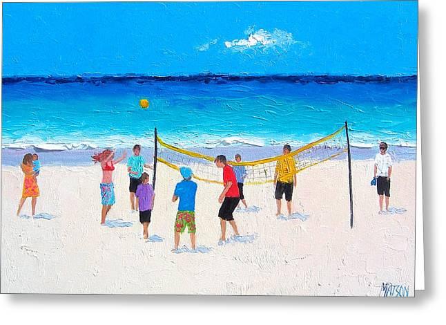 Beach Painting - Beach Volleyball   Greeting Card by Jan Matson