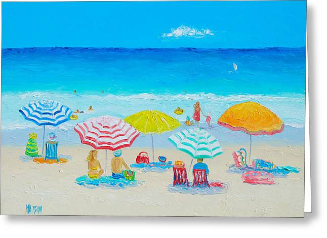 Summer Scene Greeting Cards - Beach Painting - Catching the breeze Greeting Card by Jan Matson