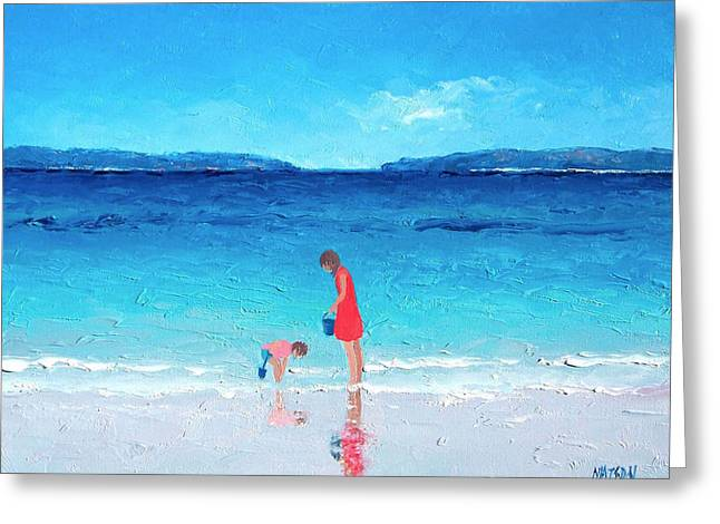 Beach Cottage Style Greeting Cards - Beach painting - Cooling Off Greeting Card by Jan Matson