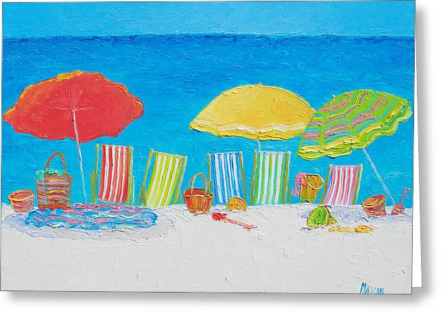 Beach Painting - Deck Chairs Greeting Card by Jan Matson