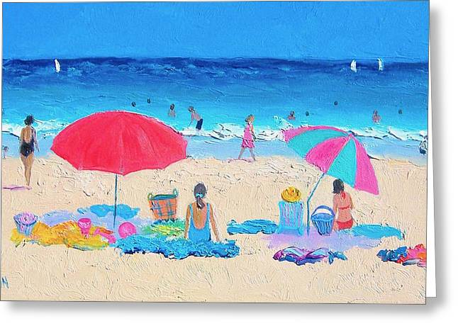 Beach Painting - Hot Summer Days Greeting Card by Jan Matson
