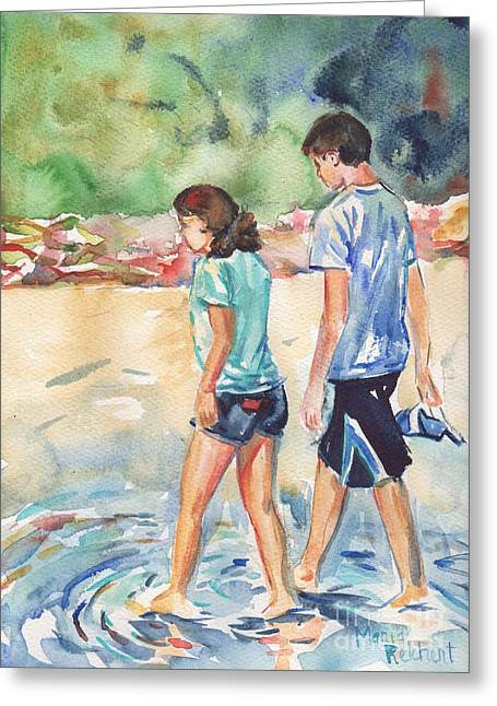 Blue Green Wave Greeting Cards - Beach painting in watercolor  No Shoes Required Greeting Card by Maria