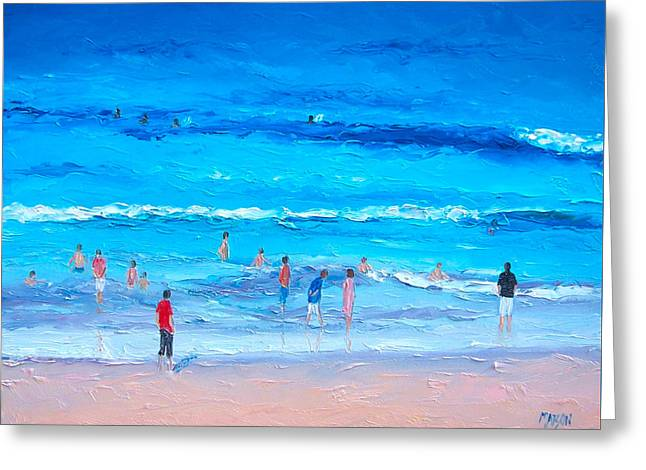 Beach At Night Greeting Cards - Beach Painting - Last swim of the day Greeting Card by Jan Matson