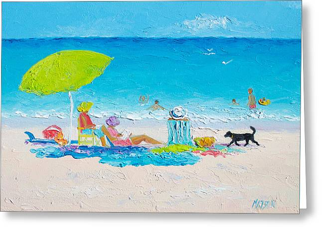 Beach Painting - Lazy Beach Day Greeting Card by Jan Matson