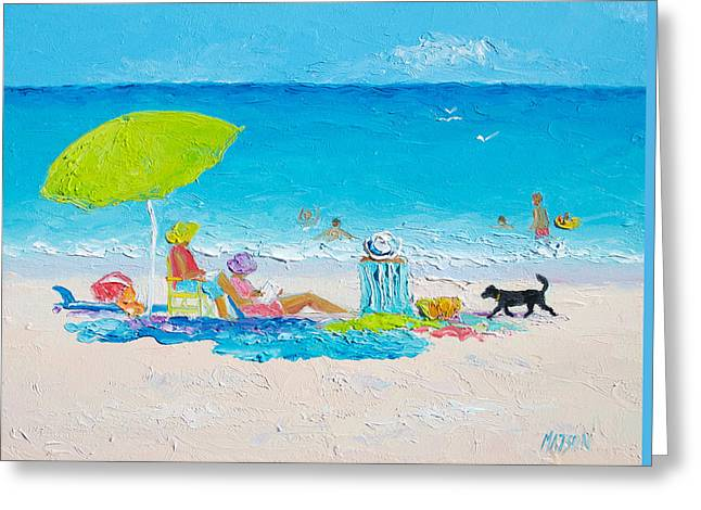 Beach Cottage Style Greeting Cards - Beach painting - Lazy Beach Day Greeting Card by Jan Matson
