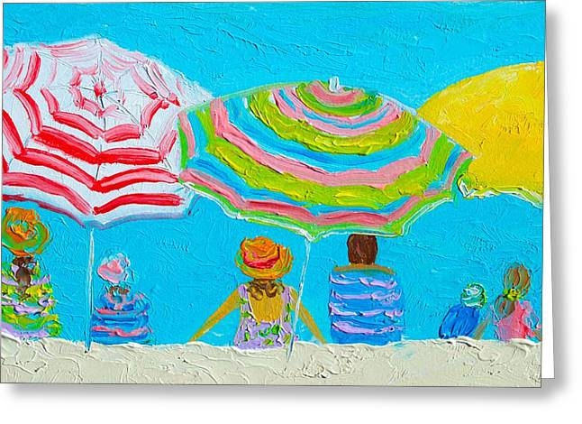 Beach Cottage Style Greeting Cards - Beach Painting - Lazy Day in Summertime Greeting Card by Jan Matson