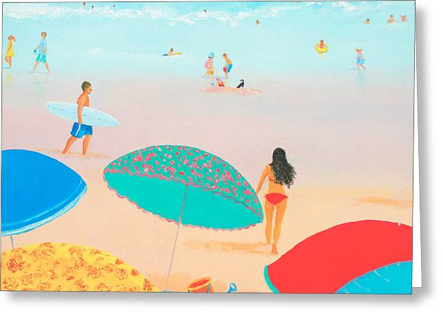 Beach Themed Art Greeting Cards - Beach Painting - Ocean Breeze Salty Hair Greeting Card by Jan Matson