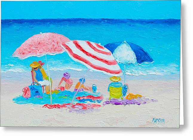 Beach Cottage Style Greeting Cards - Beach Painting - Summer beach vacation Greeting Card by Jan Matson