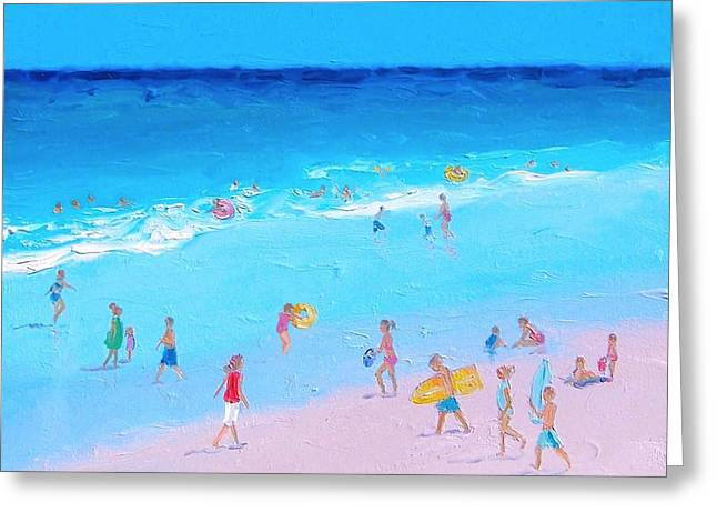 Kids Swimming At Beach Greeting Cards - Beach Painting - Summer Holiday Greeting Card by Jan Matson