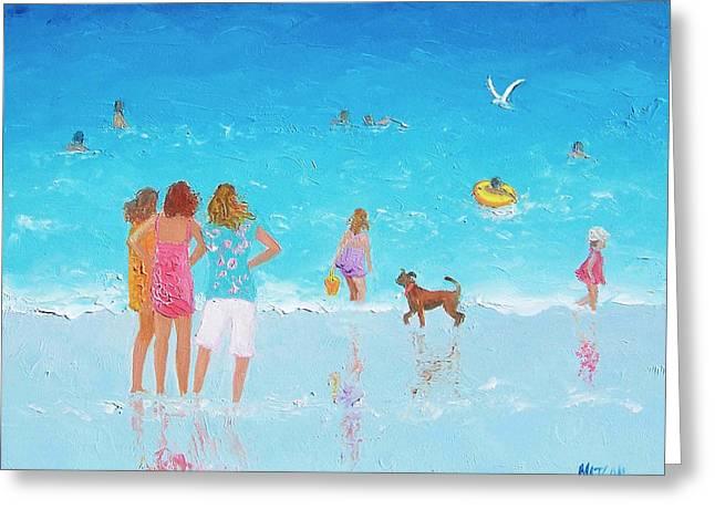 Summer Scene Greeting Cards - Beach Painting Summer is Here by Jan Matson Greeting Card by Jan Matson