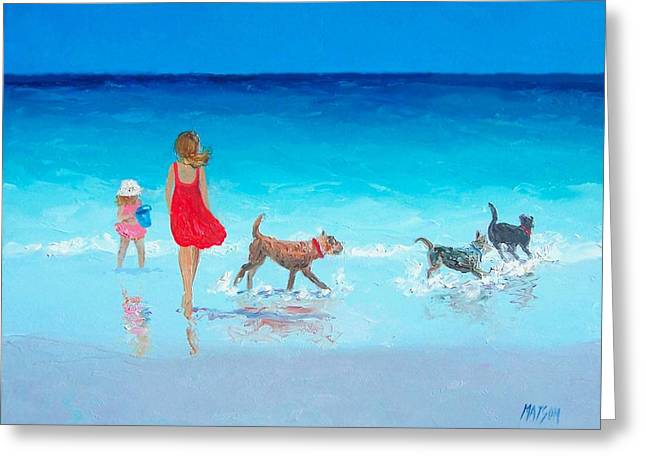 Mother And Child Prints Greeting Cards - Beach painting - Summers End Greeting Card by Jan Matson