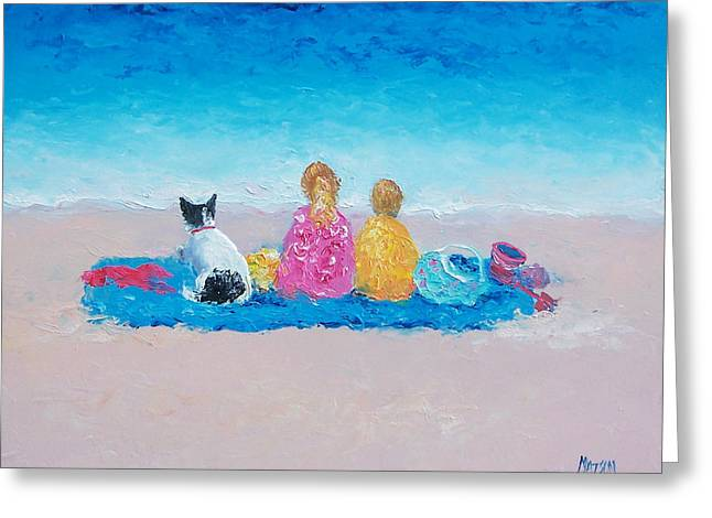 Children At Beach Greeting Cards - Beach Painting Sunday at the Beach Greeting Card by Jan Matson