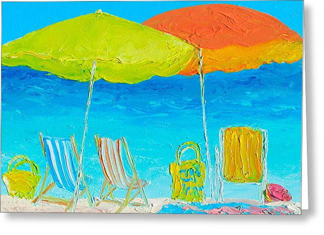 Beach Themed Art Greeting Cards - Beach Painting - Sunny Days Greeting Card by Jan Matson
