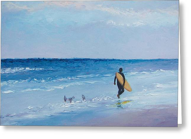 Surfer Art Greeting Cards - Beach Painting - The Lone Surfer Greeting Card by Jan Matson