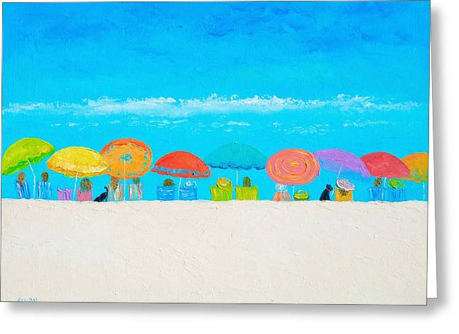 Beach Cottage Style Greeting Cards - Beach painting - Those lazy days of Summer Greeting Card by Jan Matson