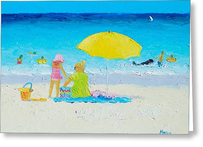 Beach Cottage Style Greeting Cards - Beach Painting - Yellow Umbrella Greeting Card by Jan Matson