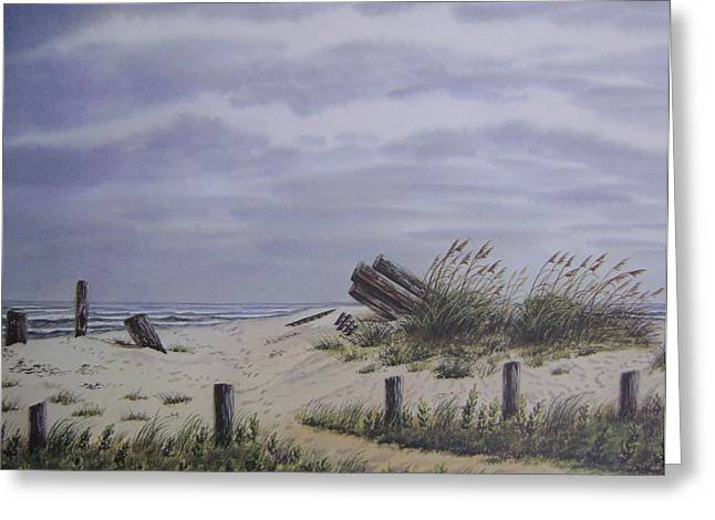 Sand Dunes Paintings Greeting Cards - Beach Path at Pawleys Greeting Card by Anna Barnwell-Williams